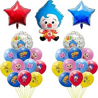 Haooryx 25Pcs Plim Plim Balloons Birthday Party Decoration Supplies Set- 20Pcs Colorful 12'' Latex Balloons & 4Pcs Payaso ...