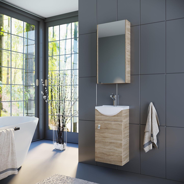 Planetmbel Badmbel Set Waschtisch + Waschbecken + Spiegelschrank Gste Bad WC (Sonoma Eiche)
