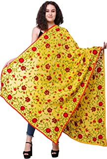Exotic India Phulkari Dupatta from Punjab with Embroidered Flowers All-Over and Studded Sequins