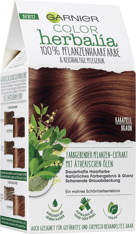 Garnier Color Herbalia - Tinte vegetal para el pelo, tono castaño caramelo, 100% vegetal, coloración vegana, paquete de 3 (3 paquetes de 1 unidad)