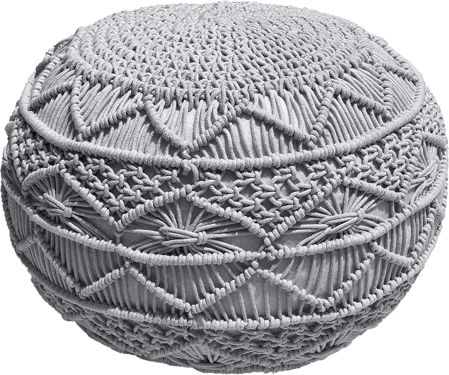 Macram/é Pouf Casa Platino Pouf Ottoman Hand Knitted Cable Style Dori Pouf Cotton Braid Cord 20 Dia X 14 Height Natural Truly One of A Kind Seating Handmade /& Hand Stitched Floor Ottoman