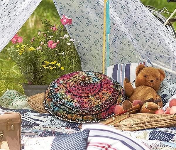 Goverdhan Tapestry 32 Mandala Floor Pillow Multi Cushion Seating Throw Cover Decorative Bohemian