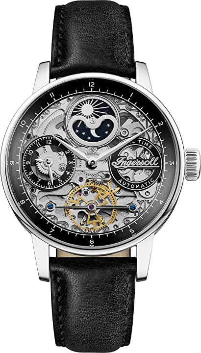 Orologio ingersoll the jazz mens automatic watch i07701 with a black dial and a black genuine leather band