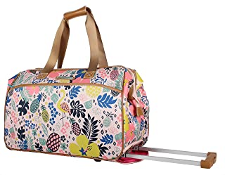 Lily Bloom Luggage Designer Pattern Suitcase Wheeled Duffel Carry On Bag (22in, Trop Pineapple)