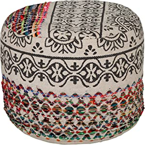 "LR Home Recycled Neo-Bohemian Pouf, 18""x14"", Multi"