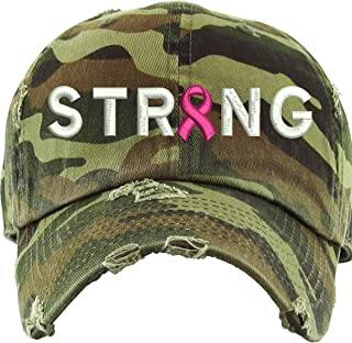 Allntrends Adult Dad Hat Strong Pink Ribbon Breast Cancer Support Embroidery Cap