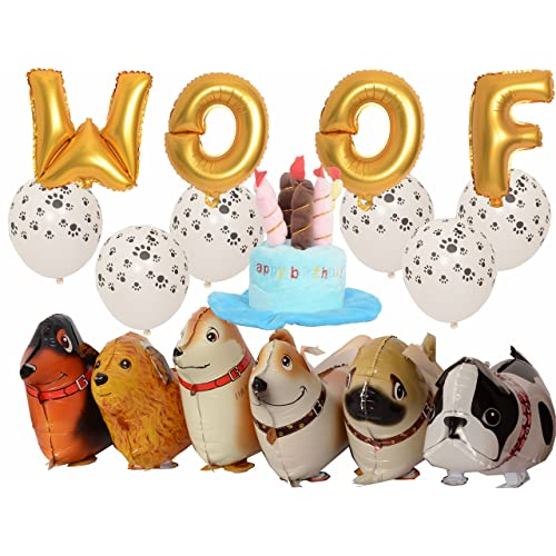 MEANT2TOBE Dog Birthday Decorations Kit 16 Inch WOOF Letter Ballons