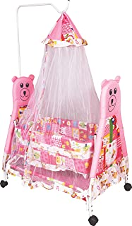 HOUZIE Obbo Baby Kick and Play Crib Cum Palna Bedding Set with Mosquito Net (Pink)