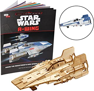 Star Wars: The Last Jedi A-Wing Book and 3D Wood Model Figure Kit - Build, Paint and Collect Your Own Wooden Movie Toy Model - Great for Kids and Adults, 12+ - 3