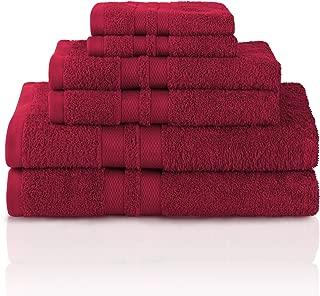 Superior 100% Premium Cotton Ultra Soft 6 Piece Towel Set, 2 Bath Towels, 2 Hand Towels, and 2 Washcloths with Unique Honeycomb Double Border, Maroon