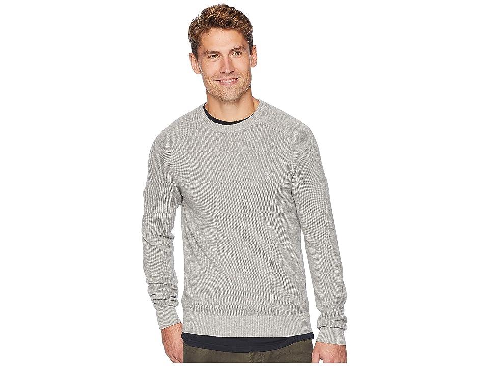 Original Penguin Long Sleeve Honeycomb Pique Sweater (Rain Heather) Men