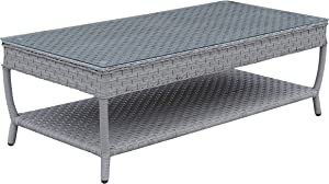 Furniture of America Fonta 2-Piece Faux Rattan Patio Sectional Set in Gray