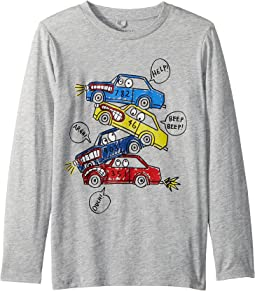 Barley Cars Stacked Long Sleeve Tee (Toddler/Little Kids/Big Kids)