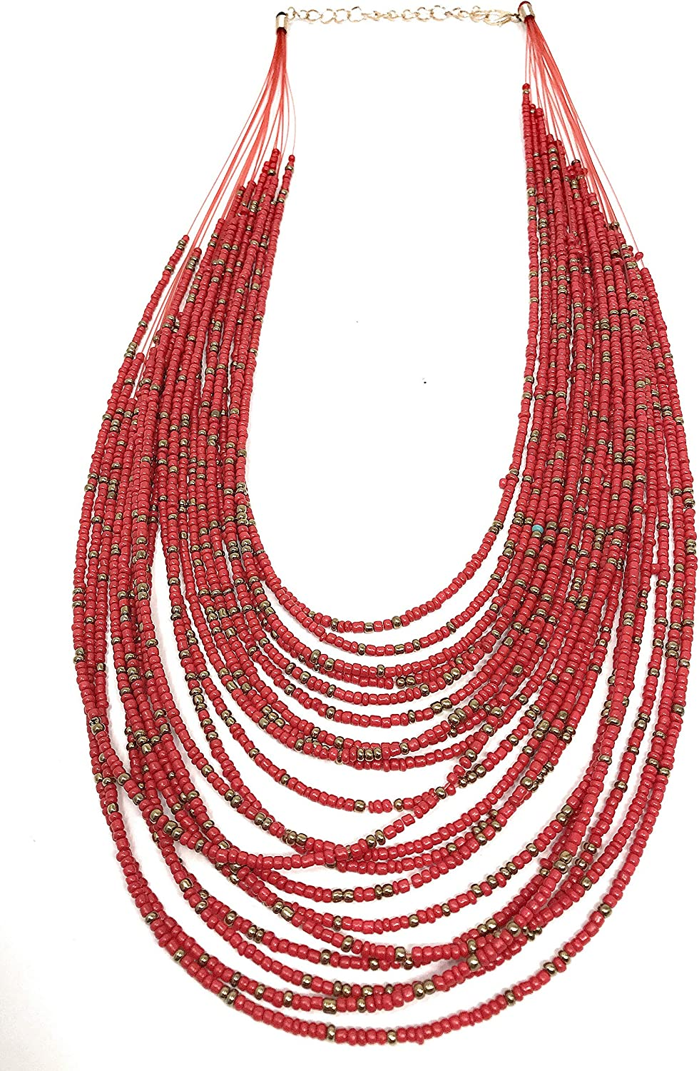 Necklace / 20 Layers Bib Statement Collar Glass Beaded Choker Necklace Fashion Jewelry For Women (Red)