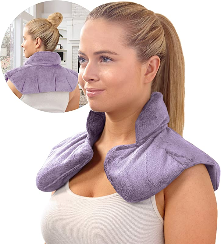 SHARPER IMAGE Hot Cold Herbal Aromatherapy Neck Shoulder Plush Wrap Pad For Soothing Muscle Pain And Tension Relief Therapy 100 Natural Lavender Herb Spa Blend Use In Microwave Or Freezer