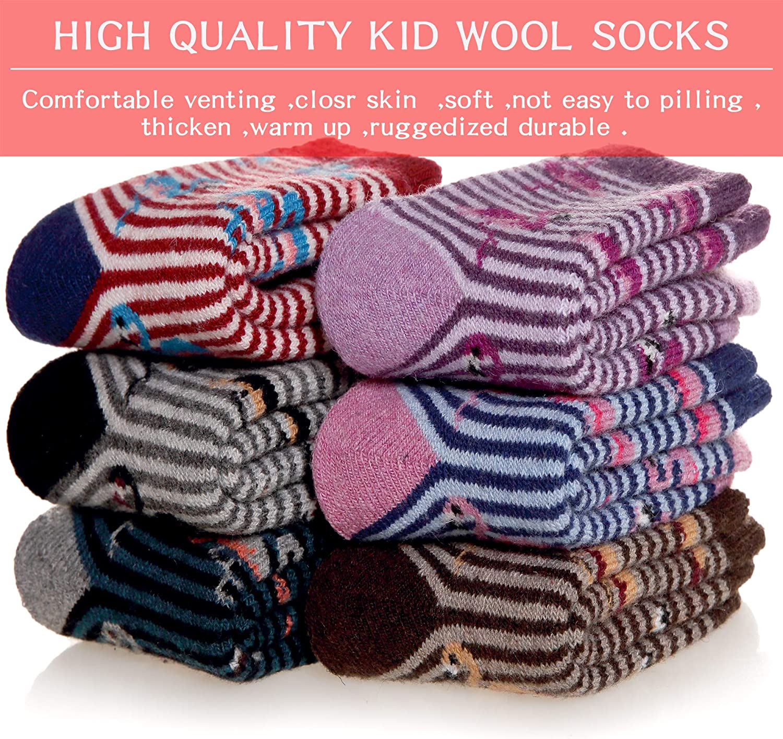 Kids Boys Girls Winter Wool Socks Thick Warm Soft Thermal Childrens Toddler Crew Casual Socks 6 Pairs (6 Pairs Flamingo,1-3T)