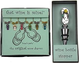 Flip Flop Wine Charms & Bottle Stopper Bundle