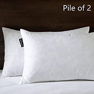 Basic Home 16X26 Oblong Feather & Down Pillow Insert, 100% Cotton Fabric, Set of 2, White …