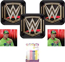 WWE Smash Wrestling Party Supplies Pack Serves 16: Dessert Plates and Napkins with Birthday Candles (Bundle for 16)