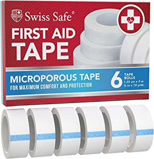 Swiss Safe First Aid Tape, Medical Microporous Surgical Tape, 5/8in Width x 10 Yards Length, Self Adhesive Paper Tape Band...