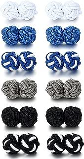 Silk Knot Cufflinks for Men Women Shirt Unique Vintage 6 Pairs a Set
