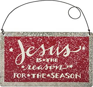 Primitives By Kathy 5 Inches x 3 Inches Jesus is The Reason for The Season Tin Decorative Sign