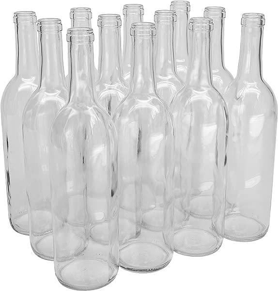 North Mountain Supply 750ml Glass Bordeaux Wine Bottle Flat Bottomed Cork Finish Case Of 12 Clear Flint