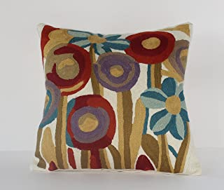 Handmade Wool Embroidered with Cotton Canvas Accent Pillow