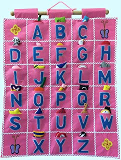 Pockets of Learning ABC Wall Hanging -- Pink, Alphabet Fabric Wall Décor for Children, Kid's Room Décor