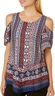 BCX Medium Junior Cold-Shoulder Medallion Print Blouse Red M