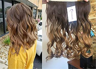 17 Inches 120grams Thick One Piece Half Head Wavy Curly Ombre Clip in Hair Extensions (Col. Chocolate brown/dark blonde) DL