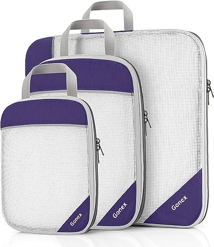 Compression Packing Cubes, Gonex Extensible Storage Mesh Bags Organizers - (L+M+S) Purple - L+M+S