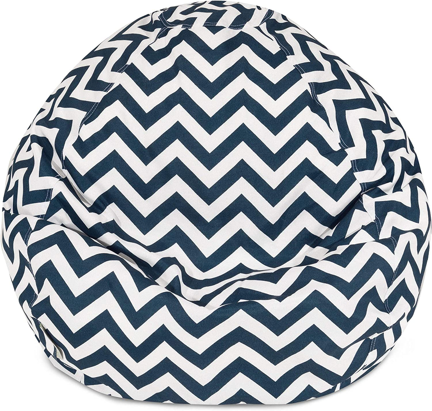 Majestic Home Goods Classic Bean Bag Chair  Chevron Giant Classic Bean Bags for Small Adults and Kids (28 x 28 x 22 Inches) (Navy bluee)