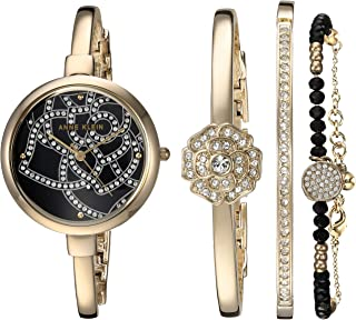 Anne Klein Women's AK/3080GBST Swarovski Crystal Accented Gold-Tone Bangle Watch and Bracelet Set