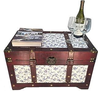 Styled Shopping Savannah Medium Wood Storage Trunk Wooden Treasure Chest Blue