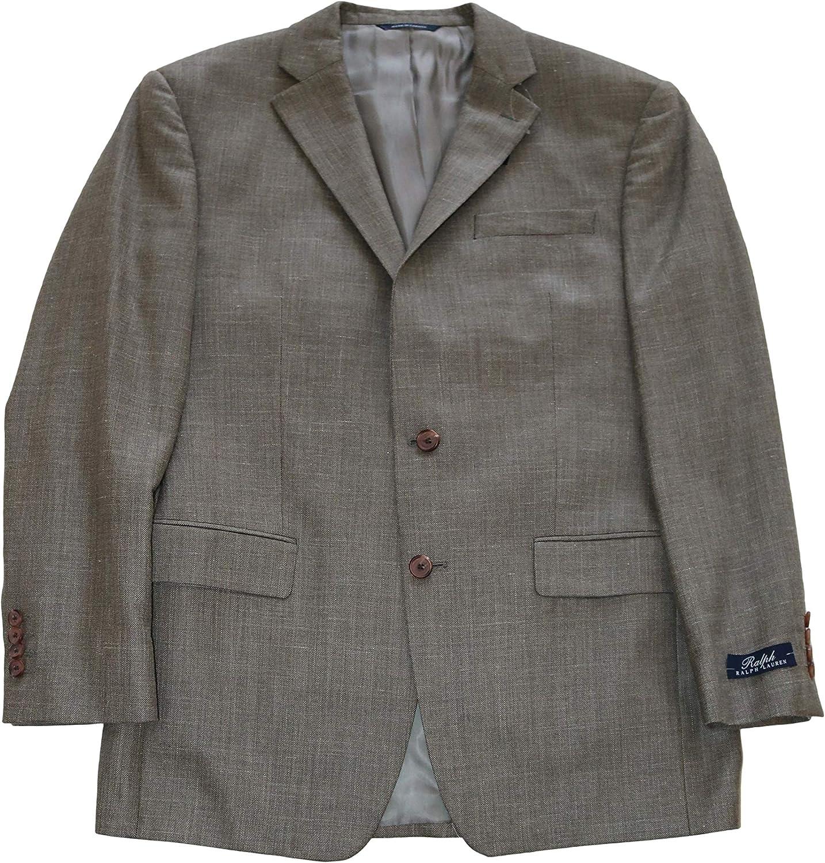 Ralph Lauren Men's Suit Jacket Light Brown Wool Silk Blazer, 40 Long