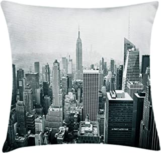 Ambesonne Urban Throw Pillow Cushion Cover, USA Decor Theme Aerial View of New York City Skyscrapers and the Foggy Sky Digital Print, Decorative Square Accent Pillow Case, 16 X 16 Inches, Grey