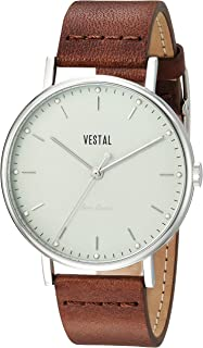 Vestal 'Sophisticate' Swiss Quartz Stainless Steel and Leather Dress Watch, Color:Brown (Model: SP42L06.BR)