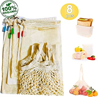 Reusable Produce Bags, Set of 8 | Organic Cotton, Biodegradable, Eco Friendly | Reusable Grocery Bags for Shopping & Storage, Mesh Bags & Muslin Bags w/drawstring BONUS Reusable Sandwich & Snack Bag
