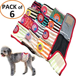 FunnyDogClothes Set - 6pcs Dog Puppy Diaper Male Boy Belly Band Reusable Washable for Small Dog Breeds