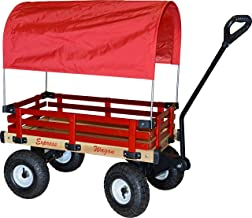 Millside Industries Wooden Express Wagon with Full Red Canopy, 16-Inch x 34-Inch