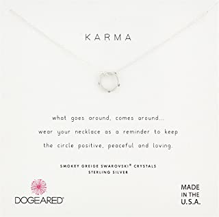 Dogeared Womens SS Mini Slide Karma Chain Necklace, Silver, 16