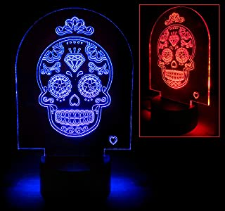 GP Electric 3D Optical Illusion Glow LED Table Desk Night Lamp 7 Multicolored Changing Light Lighting Home Decoration USB Charge and Touch Sensor Led RGB Light Safe for Kids Bedroom (Skull)