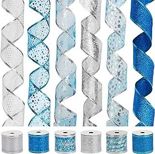 VATIN Christmas Ribbon,Wired Holiday Party Ribbons Assorted Snowflake Dot Holly Star Patterns Decorations, Swirl Sheer Glitter Ribbon 36 Yards (2.5