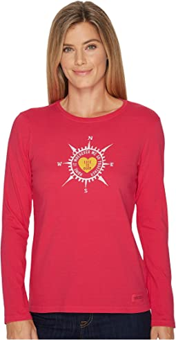 Life is Good - Heart Compass Long Sleeve Crusher Tee