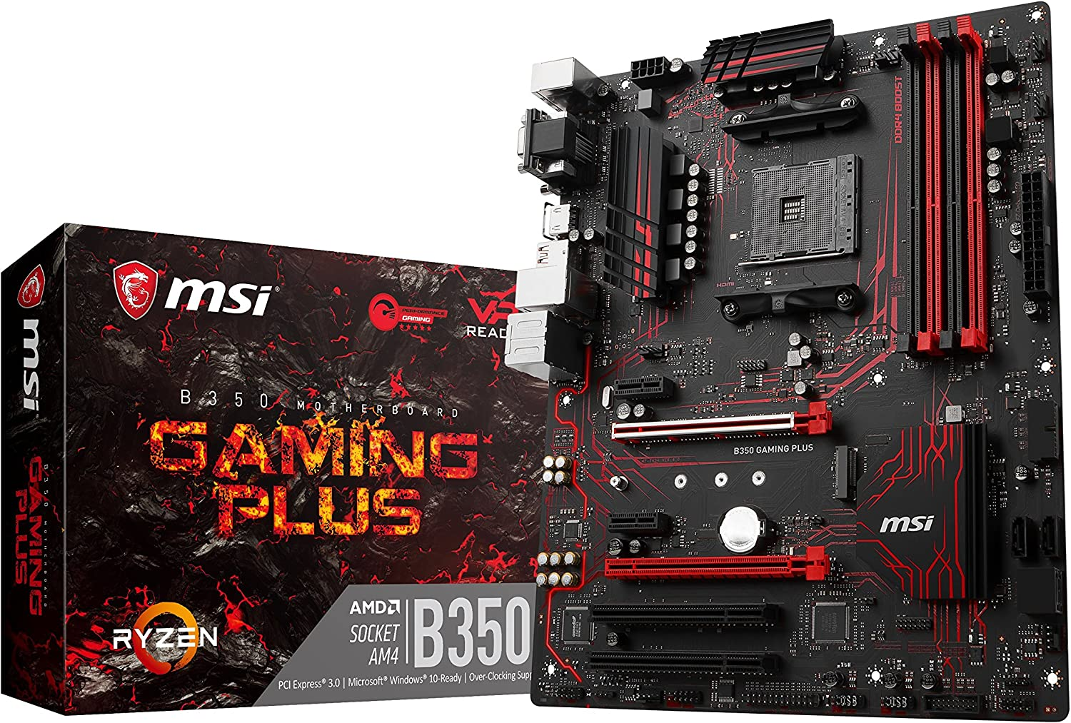 MSI B350 Gaming Plus - Placa Base Performance (AMD AM4 Chipset B350, DDR4 Boost, Gaming LAN, Audio Boost, VR Ready, Gaming Leds, Military Class V)