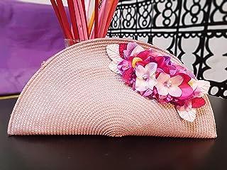 548616aa1 Bolso abanico mujer rosa nude con cremallera con detalle de flores  accesorio para bodas invitadas evento
