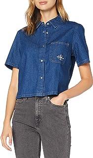 Calvin Klein Women's SS CROPPED UTILITY SHIRT S/S Woven Shirt