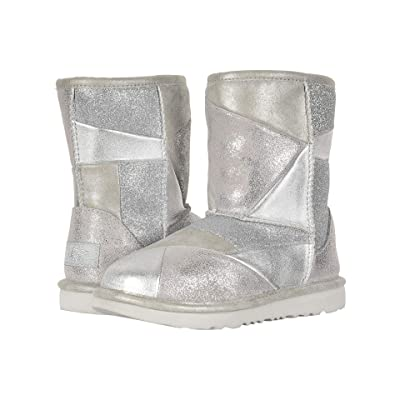UGG Kids Classic Short II Patchwork (Little Kid/Big Kid) (Silver) Girls Shoes