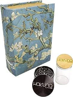 Hakuna Supply Locking Book Storage Box Bundle - 1/8 Oz. Glass Jar w/Freshness Seal Bamboo Lid + Hakuna 4 Pc. Sharp Shredder + 2 Keys (Almond Blossom)